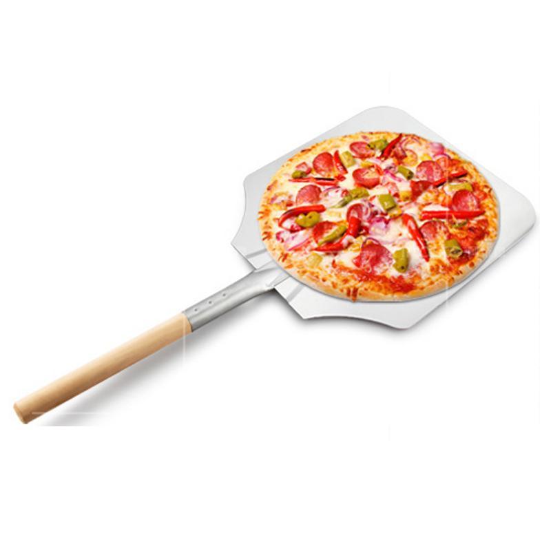 66cm 9inch 알루미늄 피자 삽 껍질과 긴 나무 손잡이 과자 도구 액세서리 피자 패들 주걱 케이크 베이킹 커터 DBC BH3589