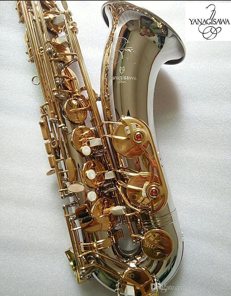 Nuovo Tenor Saxophone Yanagisawa T-9930 Strumenti musicali Bb tono argento nichelato tubo Gold Key Sax con il caso Bocchino