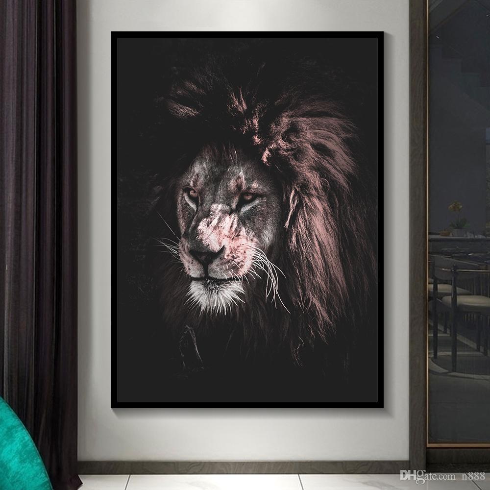 Черный и белый Классный Лев Тигр Слон Жираф Art Wolf Horse Wall Art Картины животных в шляпе-5 холстины 191003