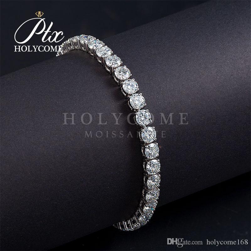 2020 Gems holycome personnalisés chaîne de diamants moissanite 14K Bracelet en or blanc massif pour les femmes