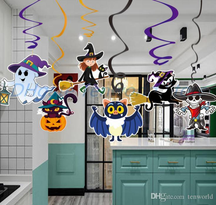 6pcs/set Cartoon Halloween Decorations Pendant PVC Spiral Pendant Party Haunted House Hanging Garland Pendant Pumpkins