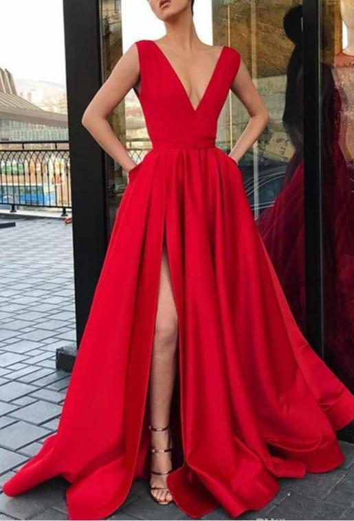 Red Prom Dresses Long Cheap A Line Deep V Neck Split Evening Gowns Women Cocktail Party Dress Formal Gown
