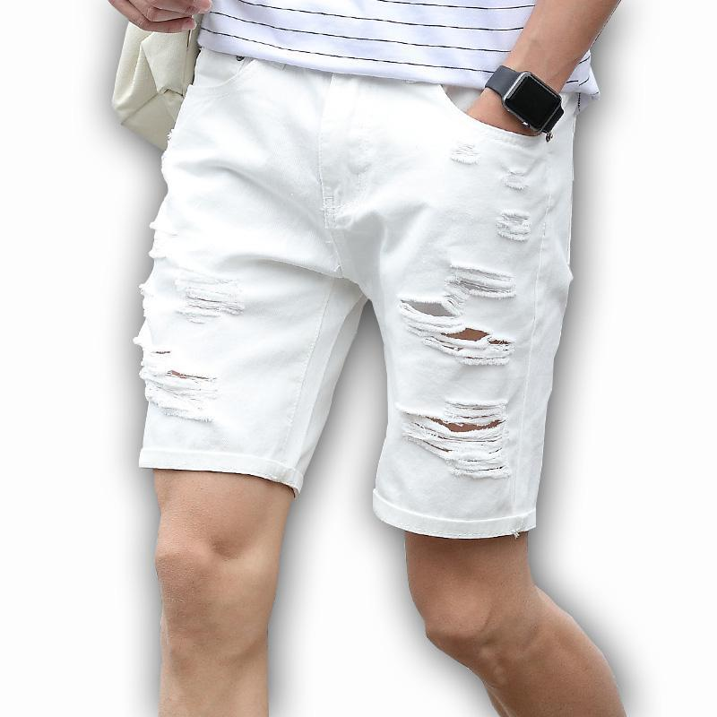 Mens Denim Shorts Slim grande taille Longueur du genou Casual Jeans Shorts courts Trou pour hommes blanc Mid New Summer Blue Black Regular