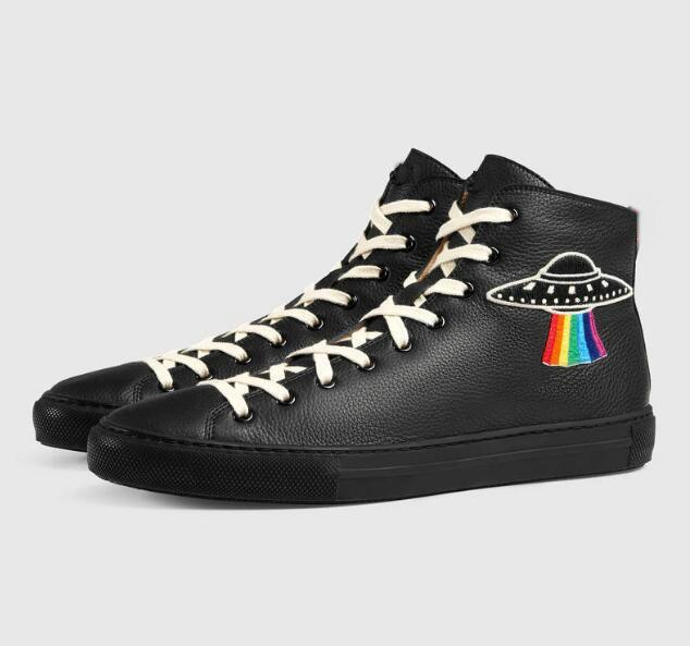 Горячая Продажа-Новая Высокого качество кожа мужской повседневной обуви плоских Hi-Top Sneakers Black White Tiger Head Змея Женщина дизайнер сапоги # 273