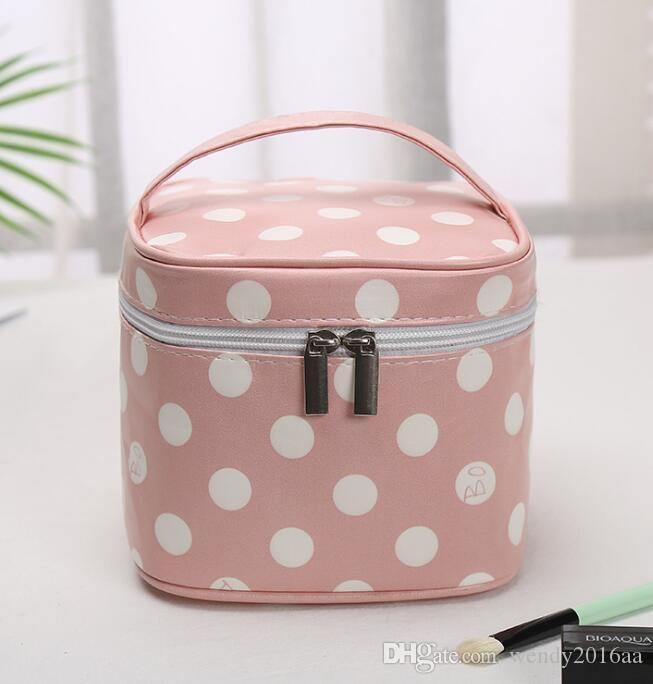 30pcs Toiletry Kits Square Fresh Dots Stripes Printing Multifunctional Sport Cosmetic Bags 5Colors Zipper Travel Storage Bags With handle