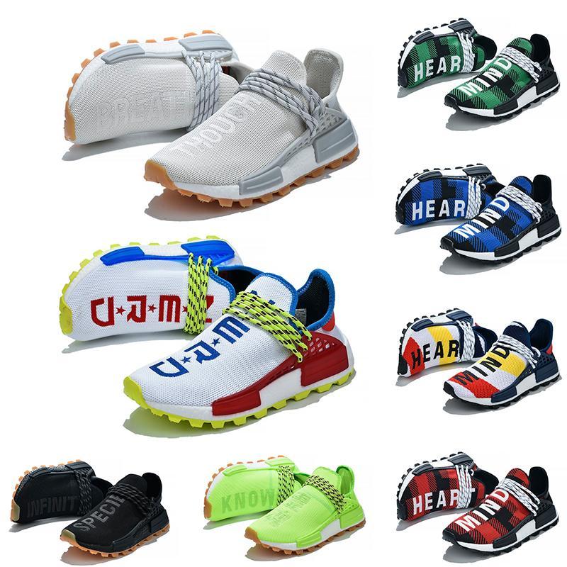 NMD Human Race Koşu Ayakkabı Pharrell Williams HU Beyaz Siyah Sarı Kırmızı Gri Womens Spor Spor ayakkabılar Koşucular Boyutu 36-45