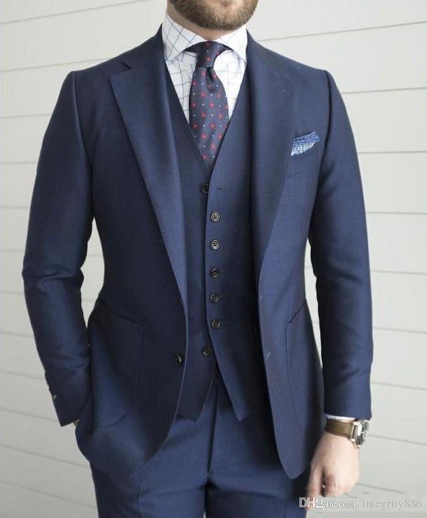 Lacivert Damat Smokin Çentik Yaka Erkekler Düğün Smokin Mükemmel Erkekler İş Yemeği Balo Blazer 3 Parça Suit (Ceket + Pantolon + Kravat + Yelek) 209