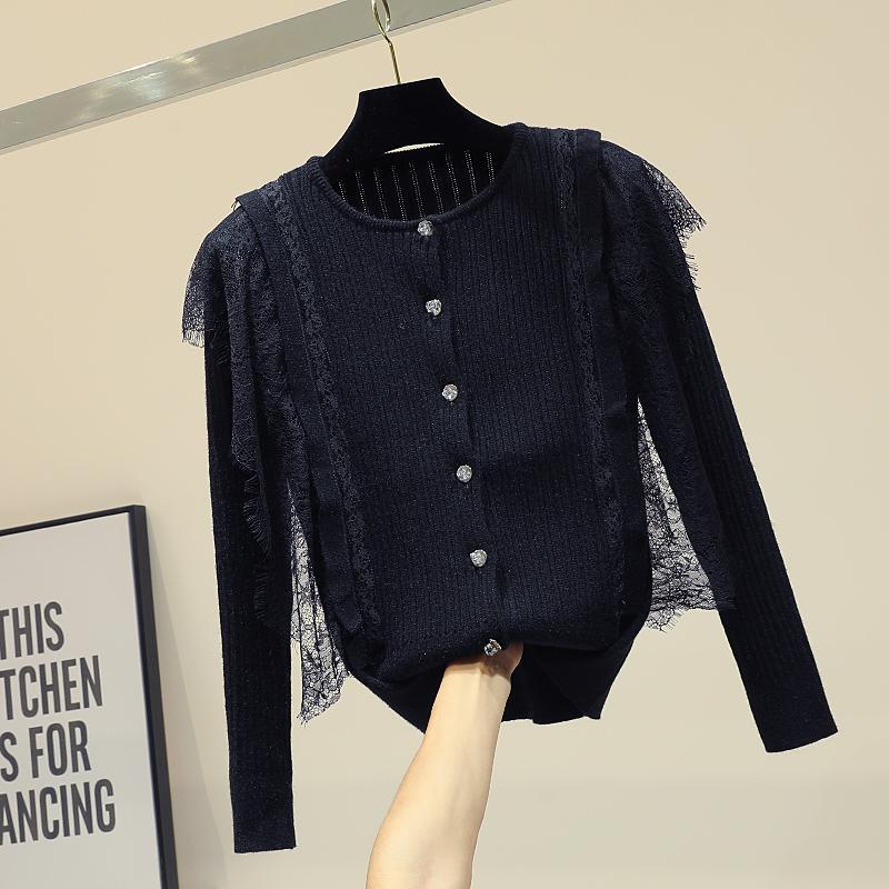 Elegante Retalhos laço longo luva de malha Camisolas para as Mulheres O Neck Único Breasted Tops All-jogo fêmeas de tricotar Cardigans