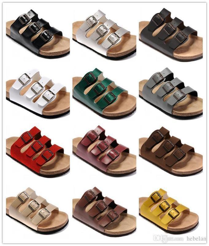 18 couleurs Marque Floride Hommes Femmes Birk Sandales talon plat avec boucle en gros Summer Beach Chaussures Casual Top qualité en cuir véritable Slipper