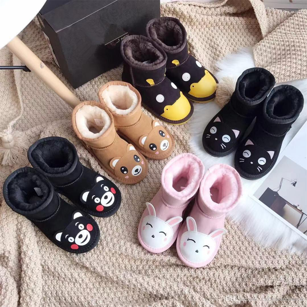 Kids Baby Shoes 2019 Winter Children Warm Cotton Boots Teenager Cartoon Animals Snow Boots Kids Boys Girls Warm Snow Boots Christmas Gifts