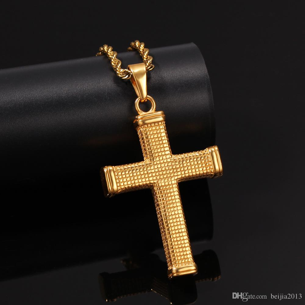 Cross Pendant Necklace Stainless Steel Gold ColorModern Stylish Religious Jewely For Men Rope Cuban Chain Necklaces Hip Hop