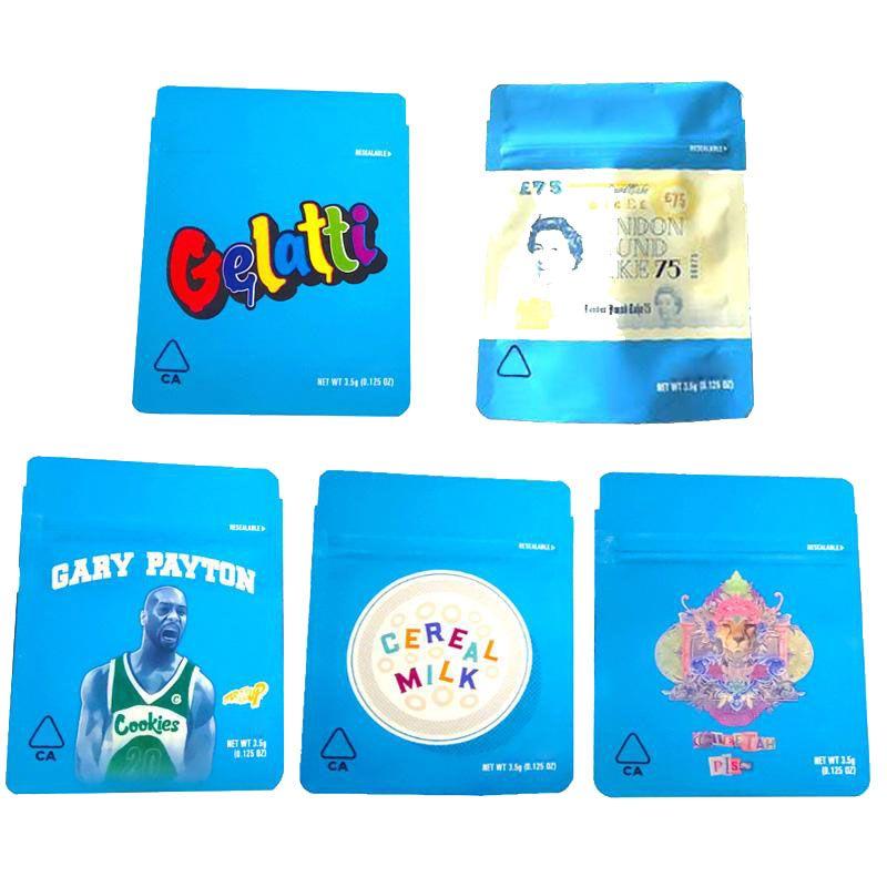 COOKIES California SF 8 3.5g Mylar a prova di bambino Borse 420 Packaging Gelatti cereali dimensioni Latte Gary Payton Cookies Bag 3.5g-1/8 Borse