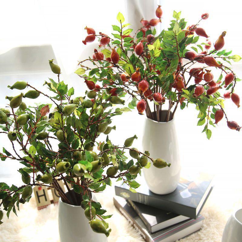 1 Pc Искусственные цветы Гранат Сушеные Branch Моделирование Фрукты Поддельный ягоды Букет цветочный сад Главная украшения партии