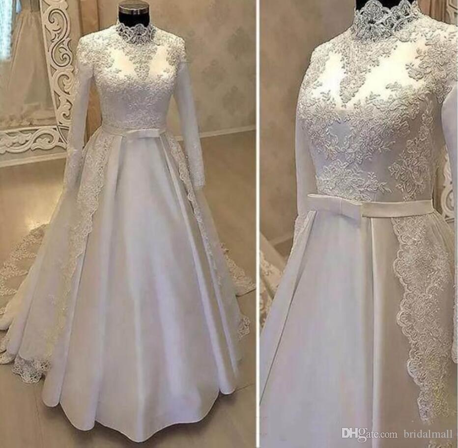 Modest Lace Appliues Muslim Wedding dresses 2020 High Neck Satin Long Sleeves Wedding Gowns Plus Size Robe De Mariage Arabic Bridal Dresses