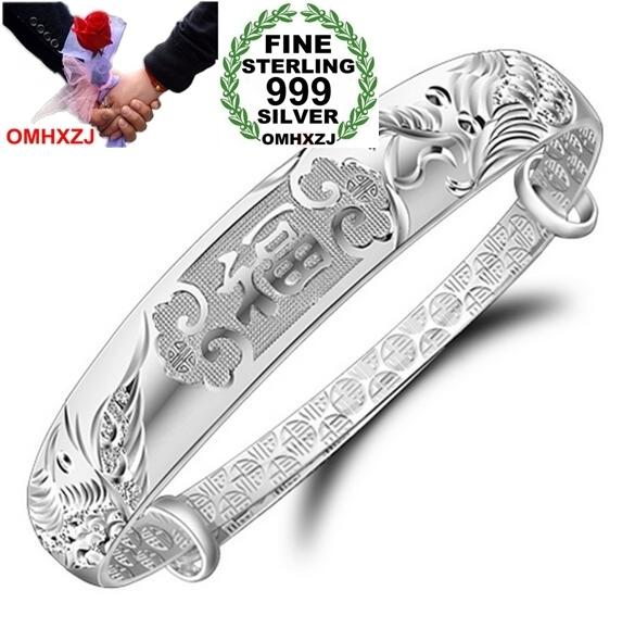 OMHXZJ Wholesale jewelry geometric Dragon phoenix woman fashion kpop star adjustable Fine 999 Sterling Silver Bangles SZ06