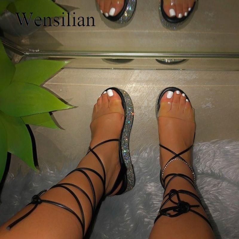 Verão Platform Sandals Mulheres Ankle Straps Sandalias Handmade Pedrinhas Sexy Abra Toe sapatos de praia Plus Size Sandalias Mujer T200529