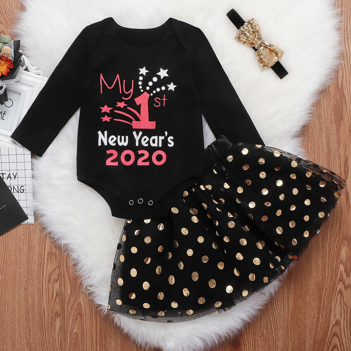Newborn Baby Girl Boy My 1st New Year Clothes Romper+Pants+Headband Outfits Sets