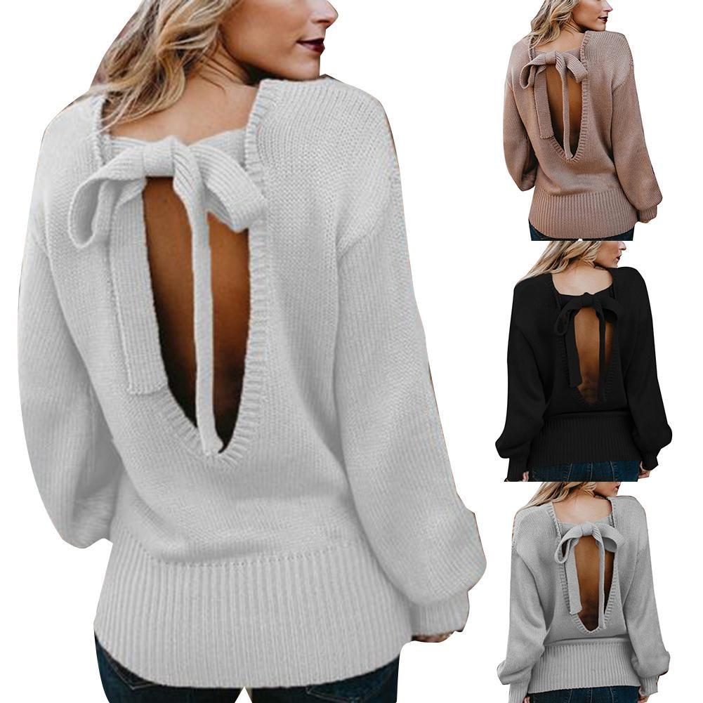 2020 повседневная женщины свитера сексуальный свитер пуловеры спинки галстук-бабочка трикотаж шею сплошной цвет пуловер женщин свитер топ