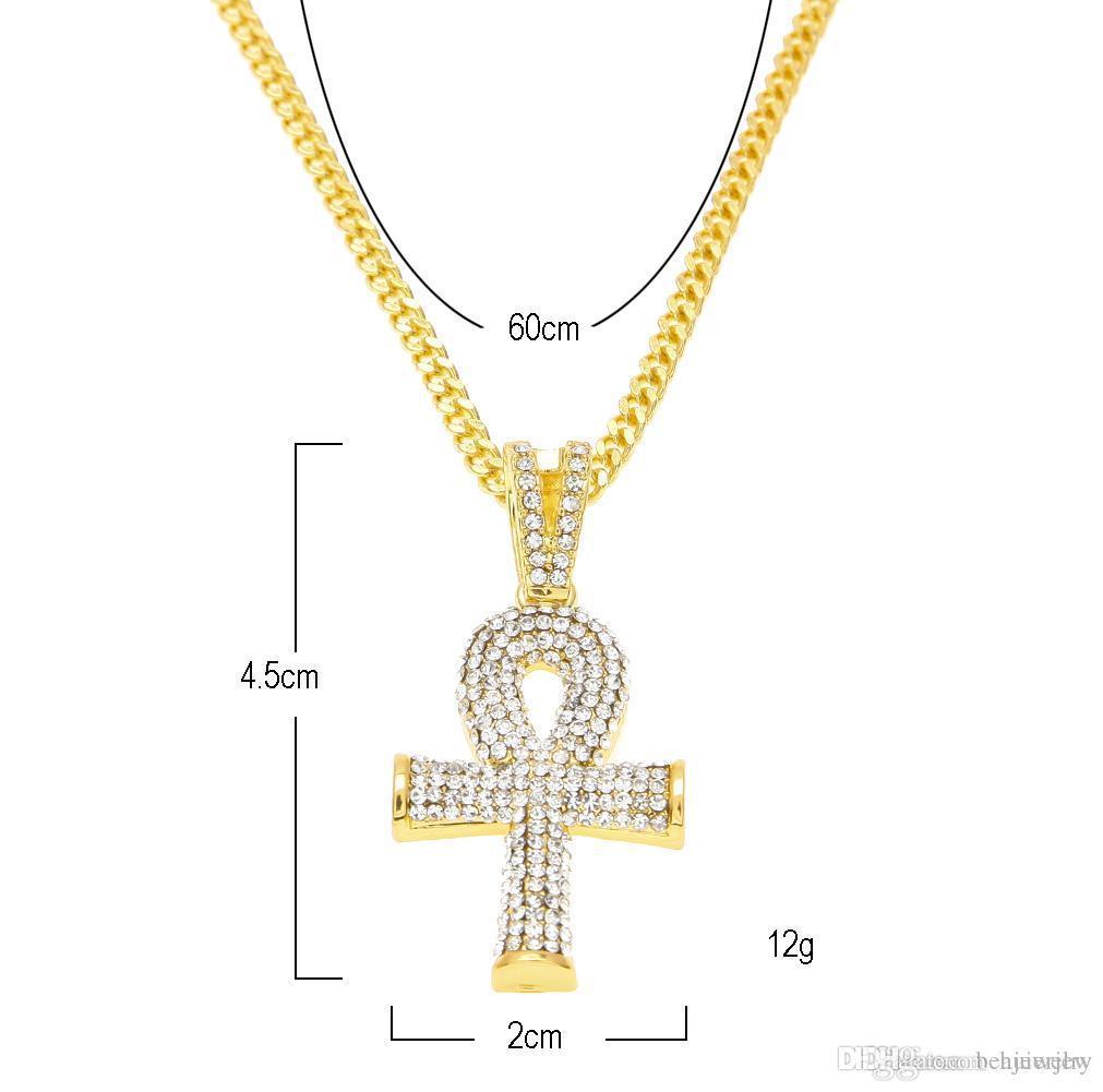 سلاسل ذهبية جميلة عنخ المصرية مفتاح الحياة قلادة جميلة مع الأحمر روبي الصليب قلادة قلادة مجموعة الرجال بلينغ الهيب هوب المجوهرات