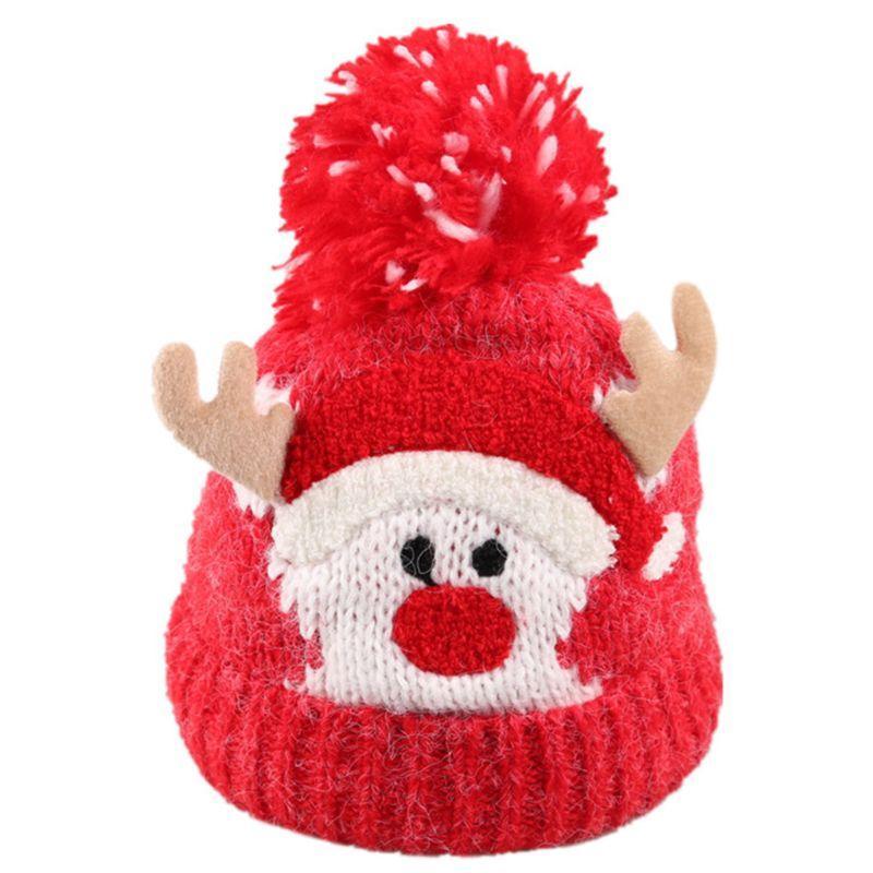Infant Christmas Baby Crochet Cappello di lana Carino Elk Antler Pompon Cuffed Beanie Cap D08E