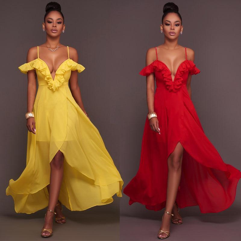 Yeni Moda Bayan Uzun Elbise Katı Yaz Seksi Bayanlar V-Boyun Backless Elbise Şifon Ruffles Elbise Giyim