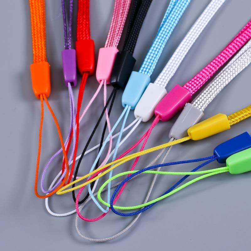 Breve colorido muñeca de la mano la cuerda de seguridad Correa para Mp3 4 llave USB Flash Drive Llavero Placa sostenedor de la identificación del teléfono móvil de la cuerda de seguridad 18 cm C22