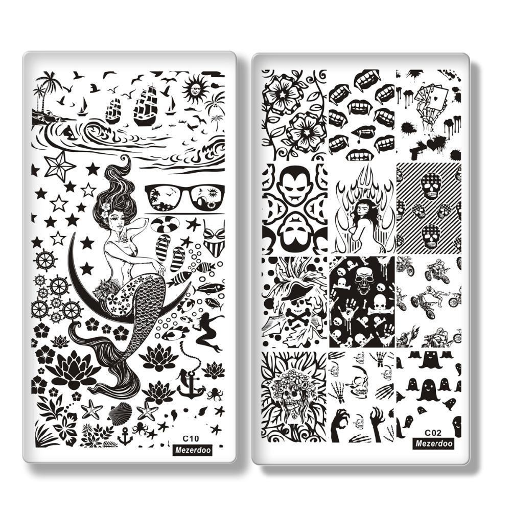Atacado 10 Pçs / lote Design Criativo Prego Stamping Placas Template Sereia Menina Imagem Carimbar Placa 12x6 cm