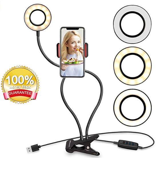 Selfie Ring Light مع حامل الهاتف الخليوي حامل لتيار مباشر / ماكياج ، UBeesize LED إضاءة الكاميرا acc017