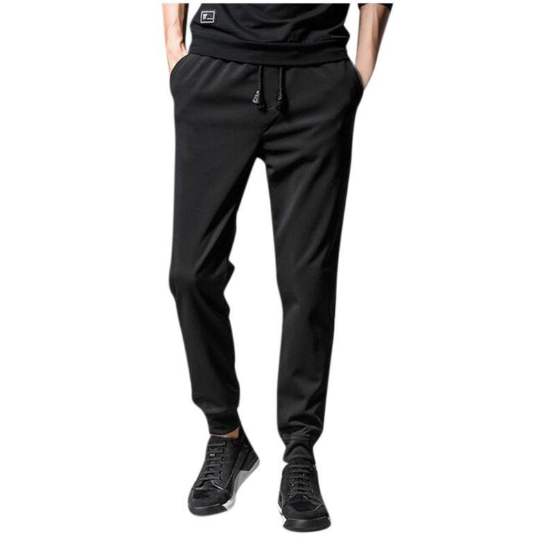 Fashion Mens Solid Drawstring Pocket Sports Trousers Casual Boy Beam Feet Pants Plus Size S-5XL