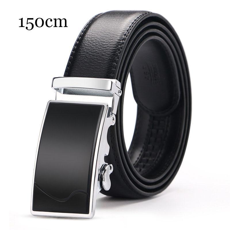140 150cm Big Size Automatische Schnalle Gürtel für Männer Qualitäts-Männer echtes Leder Geschäft Gürtel Marke Braun