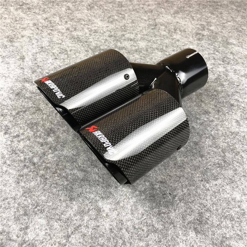 1 pieza Tubos de cola de escape de carbono brillante universal Auto Black Steel Dual Akrapovic Tips Tips Muffler Coche Accesorios