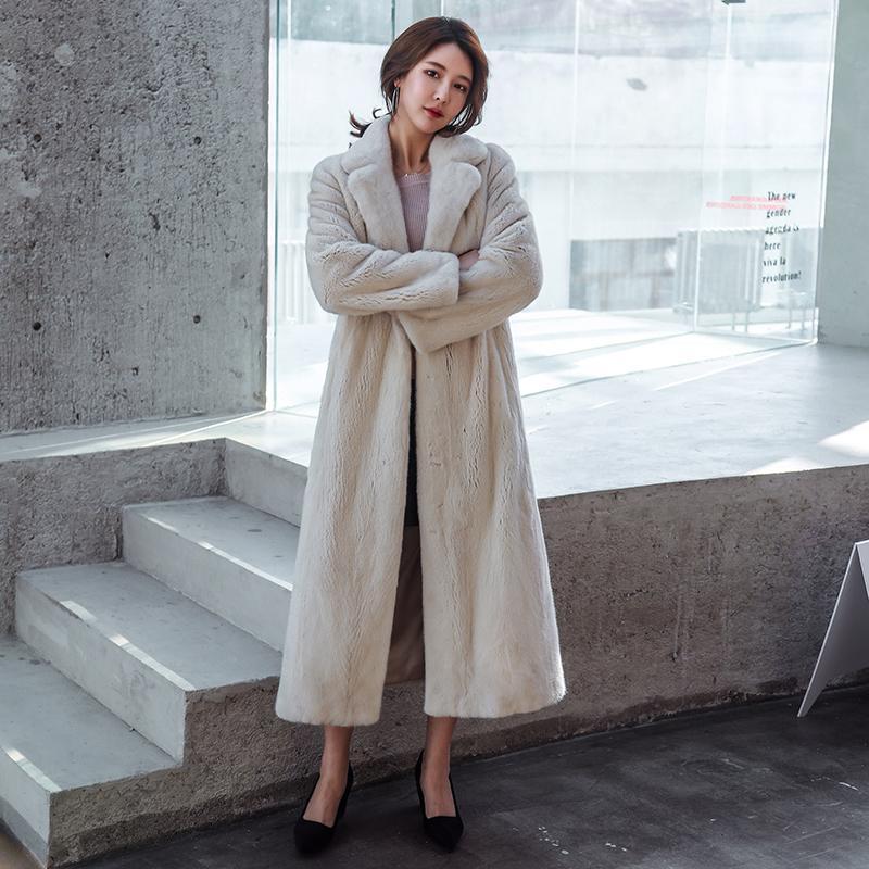 Reale pelliccia di visone Slim 120 centimetri femminile cappotto e autunno inverno porpular visone pelliccia di spessore caldo giacca LY191225