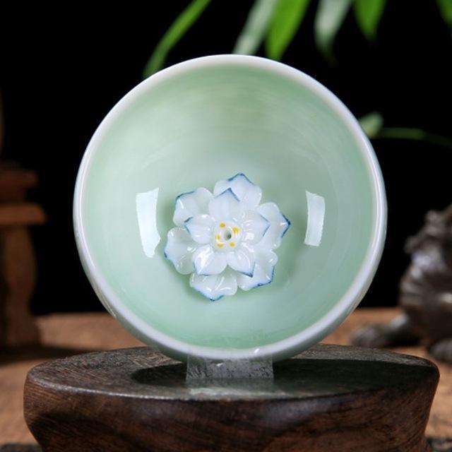 2020 Hot Sale Celadon Chinese Kung Fu Tea Set Lotus Pu'er Tea Cups Hand-painted Ceramic Embossed Dragon Peony Carp Goldfish Tea Cups