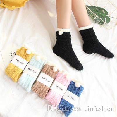 New Women Winter Warm Sleep Bed Socks Floor Home Fluffy Socks Coral velvet Feet Warmer Towel Sock