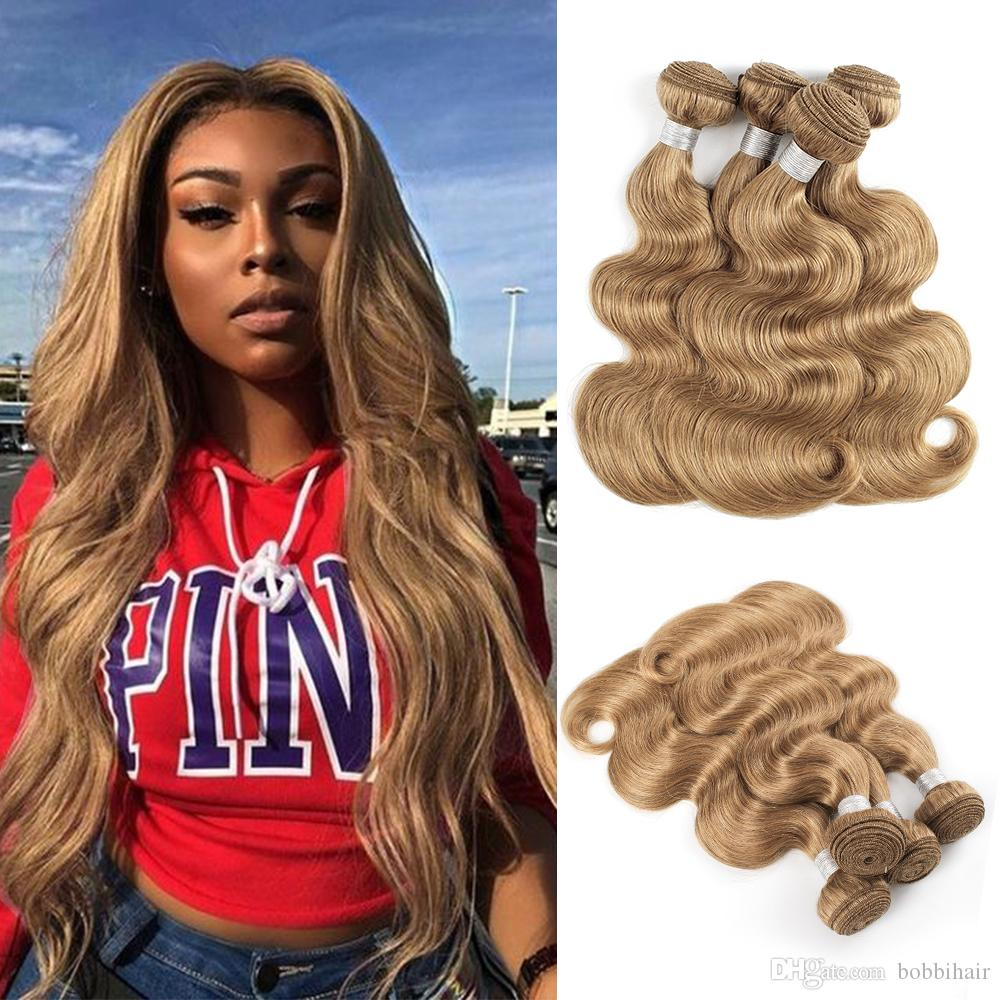 27 Honey Blonde Hair Weave Bundles Brazilian Body Wave Hair For Black Women 3 Or 4 Bundles 16 24 Inch Remy Human Hair Extensions Curly Weave Human
