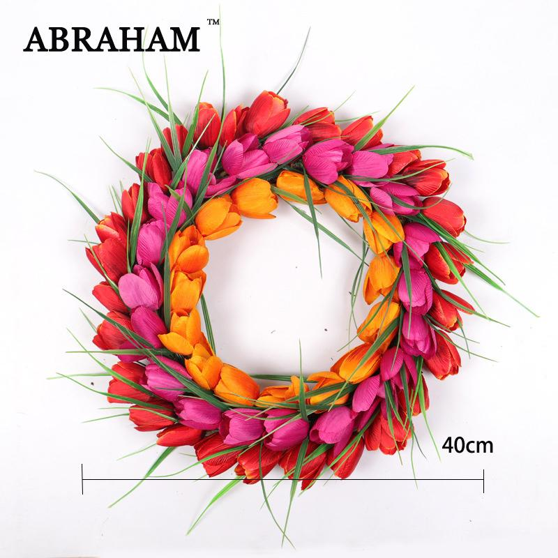 40cm PU Tulip Wreath Big Artificial Garland Wall Hanging Flowers Plastic Door Flower Real Touch Floral For Home Wedding Decor