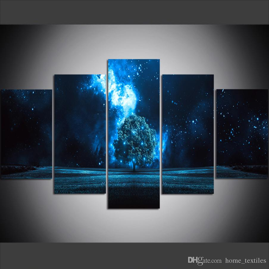 5 Piece Large Size Canvas Wall Art Pictures Creative Tree starry Night Art Print Oil Painting for Living Room