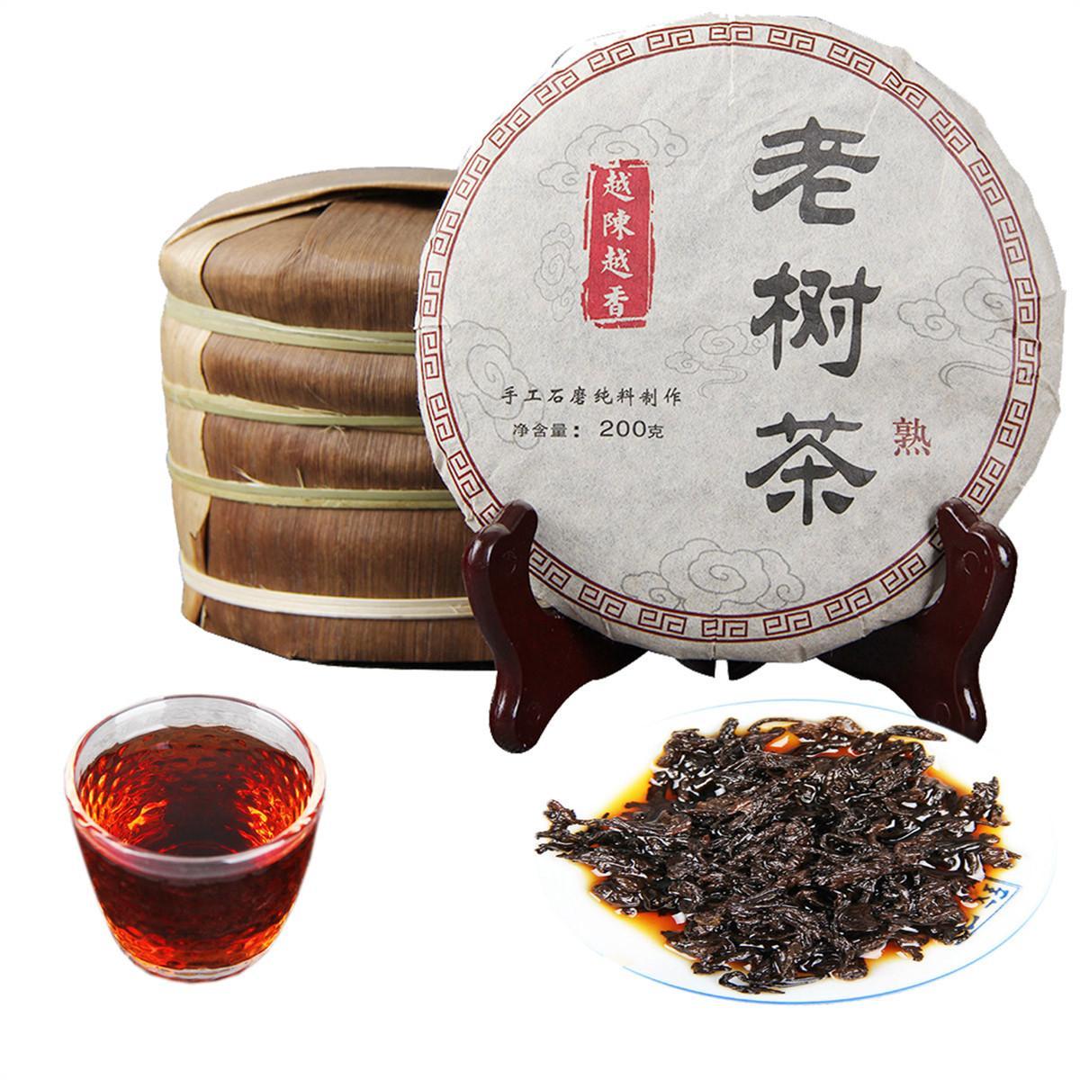 Tercih edilmekte 200g Olgun Puer Çay Kek Yunnan Antik Ağacı kokulu Puer Çay Organik Doğal Pu'er Puer Siyah Puerh Çay Kek Pişmiş