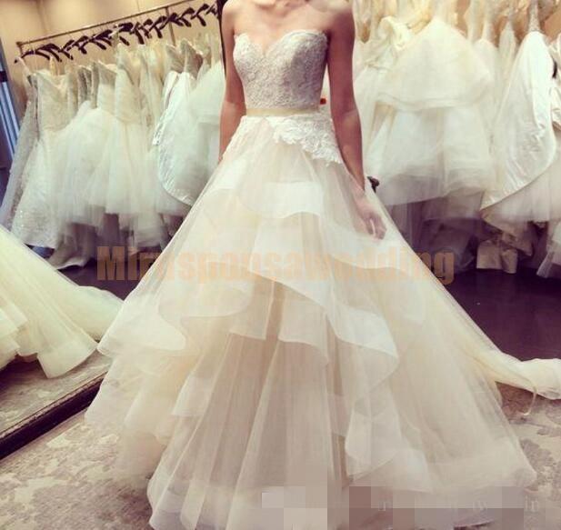 2020 многоуровневого Юбка Свадебные платья Милая декольте органзы ленты сшитое Длина пола линия Свадебное платье Платье-де-Novia