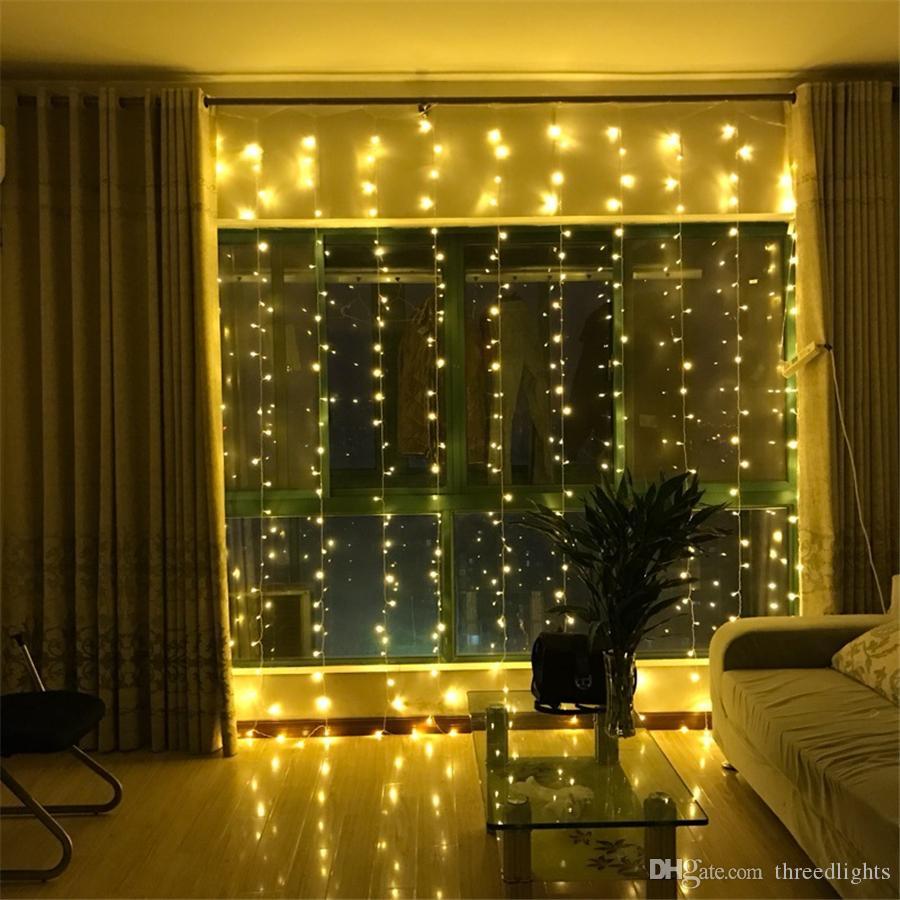 2x2 / 3x3 / 6x3m LED icicle LED 커튼 요정 문자열 빛 요정 빛 300 웨딩 파티오 창 파티 장식을위한 크리스마스 빛