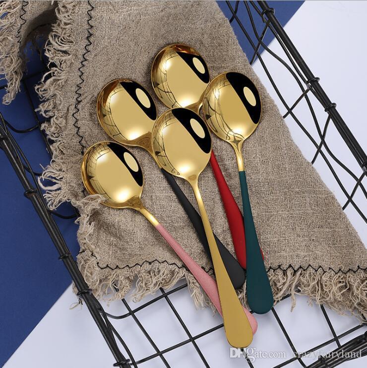 El acero inoxidable cucharas cena con el borde colorido Ronda extrafino Postre Cucharas de la cocina del hogar o restaurante 7 pulgadas