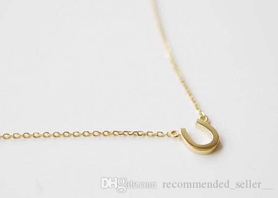 30 U образный алфавит ожерелье письмо U кулон подкова геометрия изогнутые половина сад кулон ожерелье мода счастливые женщины ювелирные изделия я люблю тебя