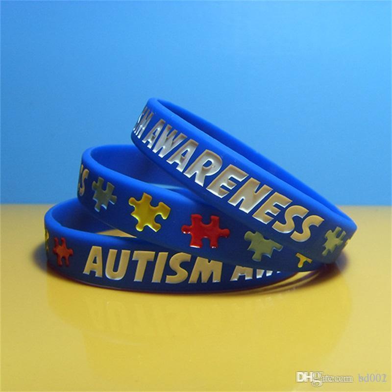 Articoli da regalo Autism Awareness Bracciale Silicone Tre Colori Puzzle Logo Man Wristband Strap per adulti e ragazzi popolari del partito dei monili 1 3FB E1