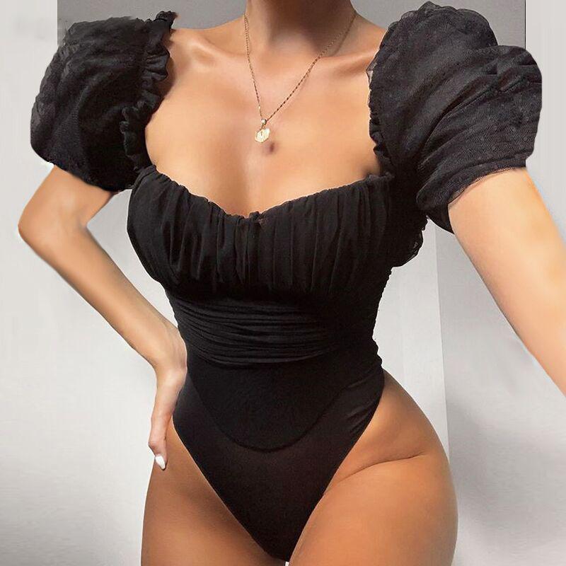 Real Fotos Sexy Women Designer Preto malha ver através Bodysuit Princesa luva U-pescoço Magro Macacão atacado
