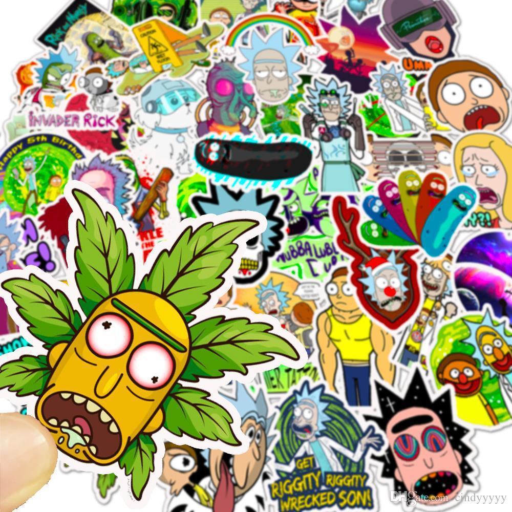 Dizüstü Kaykay Pad Bisiklet Motosiklet PS4 Telefon Bagaj Çıkartması Pvc çıkartması için Araba Etiketler Popüler Karikatür Rick Anime Karışık 50 adet / torba