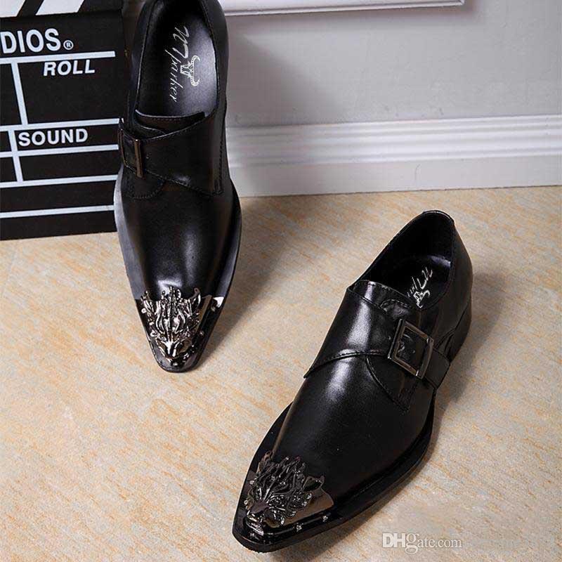 Große Größen 45/46! Männer Kleid Schuhe Schwarz Leder Businesss Schuhe Männer Italienisch Slip On Party Schwarze Schuhe Zapatos Hombre, Große Größen US12, EUR46