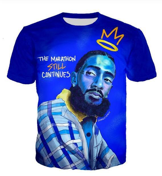 Neueste Art und Weise der Männer / Womans Rapper Nipsey Hussle Sommer-Art-T-Stücke 3D-lässig T-Shirt Tops Print Plus Size BB029