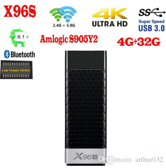 x96s 안드로이드 9.0 TV 스틱 Amlogic S905Y2 쿼드 코어 4GB RAM 32GB ROM 2.4 / 5G WIFI BT4.2 4K HD 스마트 미디어 플레이어