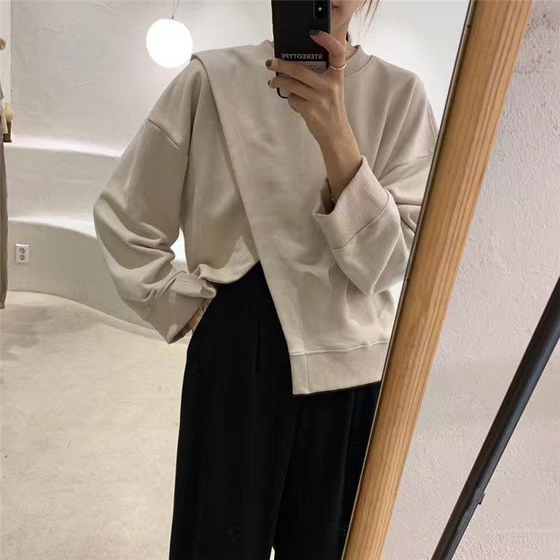 Alien Kitty Solid Chic Loose O-Neck Pullover Soft 2020 Fashion Cross High Quality Oversize Warm Casual Women Female Sweatshirt Y200706