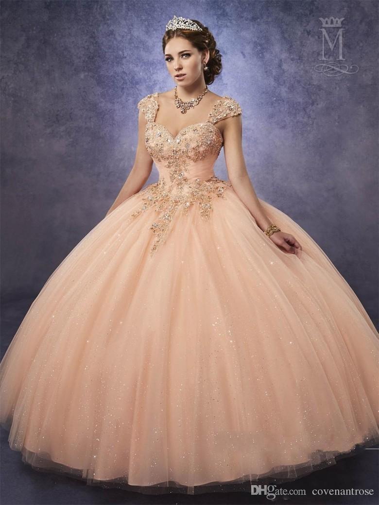 Compre Nuevos Vestidos De Quinceañera Melocotón Con Correas Desmontables De Tul Dulce 16 Del Vestido De Encaje Hasta La Espalda Vestidos De Baile